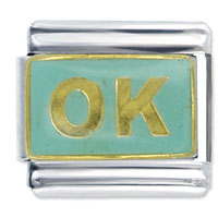 Italian Charms - ok aqua blue words &  phrases italian charm Image.