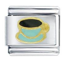 Italian Charms - coffee cup aqua food italian charm bracelet Image.