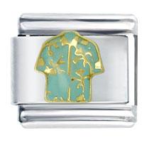 Italian Charms - golden italian charm bracelet hawaiian shirt aqua blue Image.
