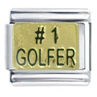 Italian Charms - number golfer gift italian charm Image.
