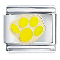 Italian Charms - yellow dog paw print animal italian charms bracelet link Image.