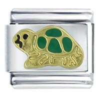 Italian Charms - golden italian charm bracelet green turtle spring fashion jewelry Image.