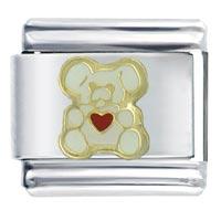 Italian Charms - italian charm bracelet heart bear white animals italian charm Image.