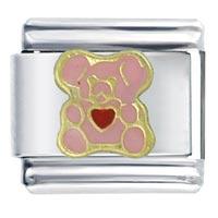 Italian Charms - heart bear pink italian charm bracelet Image.