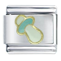 Italian Charms - pacifier aqua baby italian charm bracelet Image.