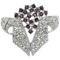 Vintage Bridal Bouquet Birthstones Clear And Coffee Swarovski Crystal Diamond Accent Brooches And Pins