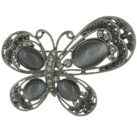 Vintage Asymetrical Empress Monarch Silver Flying Butterfly Winged Gray Brooches And Pins
