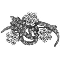 New Year Deals - vintage white flower vine clear swarovski crystal diamond accent brooches and pins Image.