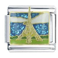 X2_V1376Z_PG: eiffel tower italian charm bracelet bracelet link x2 italian charm Image.