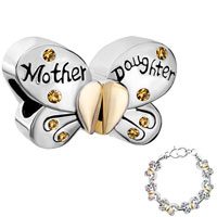 Charms Beads - mother daughter charms separable butterfly yellow crystal heart mom Image.