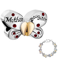 Charms Beads - mother daughter charm separable butterfly charm bracelet heart mom Image.