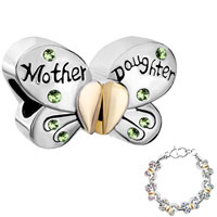 Charms Beads - mother daughter charm separable butterfly peridot crystal heart mom Image.