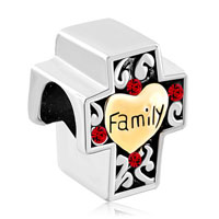 Charms Beads - two tone red filigree heart love family on cross bracelet charm Image.