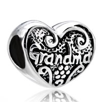 Sterling Silver Jewelry - mom charms grandma charms sterling silver heart beads Image.