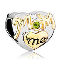 Charms Beads - mother daughter charms peridot crystal golden love mom heart charm Image.
