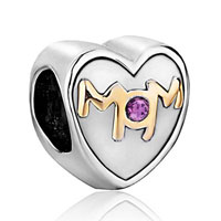 Charms Beads - mother daughter charms mom purple crystal heart charm beads gift Image.