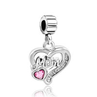 Charms Beads - mother daughter rose october births heart dangle charm bracelet spacer Image.