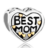 Sterling Silver Jewelry - mom charms heart beads charms 925 sterling silver beads Image.