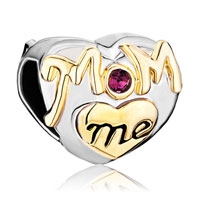 Charms Beads - mother daughter charms purple crystal golden love mom heart charm Image.