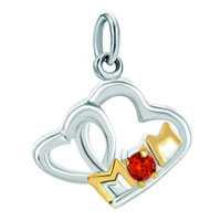 Charms Beads - mom charms open heart garnet red swarovski elements Image.