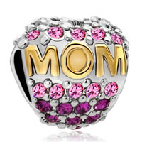Charms Beads - mother daughter charms 22k gold oct births bead charm pink crystal Image.
