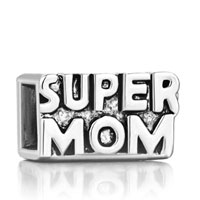 Charms Beads - silver mother daughter cube super mom european bead charm bracelets Image.