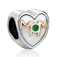 Charms Beads - mother daughter charm mom green crystal heart charm bracelet bead gift Image.