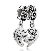 Sterling Silver Jewelry - mother daughter charms heart beads sterling silver beads Image.