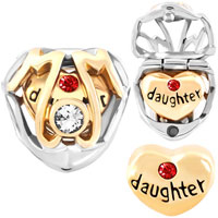 Charms Beads - mother daughter charms heart beads charms swarovski elements Image.