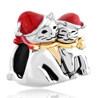 Charms Beads - mother daughter charms red christmas hat cat baby charm bracelet Image.