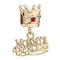 Charms Beads - mother daughter charms crown red crystal dangle words princess bead Image.