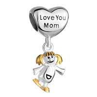Sterling Silver Jewelry - mother daughter charms heart beads 925 sterling silver beads Image.