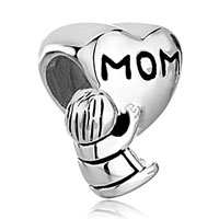 Sterling Silver Jewelry - mother daughter charms heart beads charms 925 sterling silver beads Image.