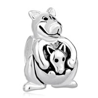 Charms Beads - mother daughter charms kangaroo carrying mother's baby charm beads Image.