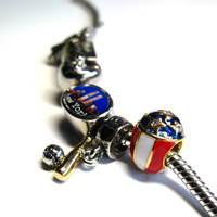 Charms Beads - WHITE RED CREAM BLUE STARS FABERGE EGG EUROPEAN BEAD CHARM BRACELETS alternate image 4.