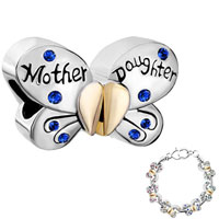 Charms Beads - mother daughter charms separable butterfly green crystal heart mom Image.