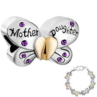Charms Beads - mother daughter charms separable butterfly purple crystal heart mom Image.