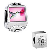 Hummingbird Photo Flower Fit All Beads Charms Bracelets
