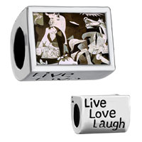 "Charms Beads - words "" live love laugh""  with picasso guernica art Image."