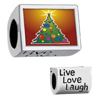 "Charms Beads - words "" live love laugh""  with bright christmas tree Image."