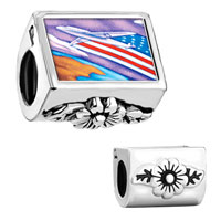 Charms Beads - against flower leaves usa flag plane fit all charm bracelets Image.