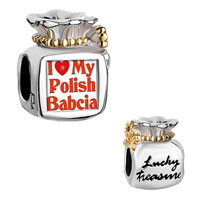 Charms Beads - moneybag bowknot lucky treasure two tone words i love my polish babcia Image.