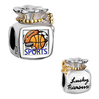 Charms Beads - moneybag bowknot lucky treasure two tone sports basketball football soccer Image.