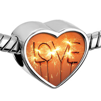 Charms Beads - fantastic silver tone heart Image.