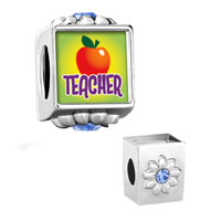 Flower Aquamarine Crystal Pin Teacher Apple