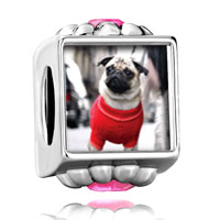 Flower Pink Crystal Pin Dressed Up Pug Photo Beads Charms Bracelets