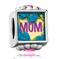 Flower Pink Crystal Pin Mom Photo Beads Charms Bracelets