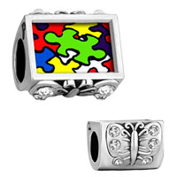 Clear Crystal Butterfly Autism Awareness Photo Bead Fit Charms Bracelet