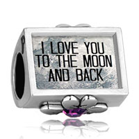 I Love You To The Moon And Back Photo Purple Crystal Beads Charms Bracelets Fit All Brands