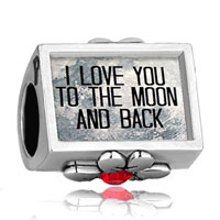 I Love You To The Moon And Back Photo Red Crystal Beads Charms Bracelets Fit All Brands